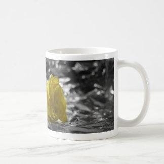 Yellow Rose On Left Side Silver Background Mug