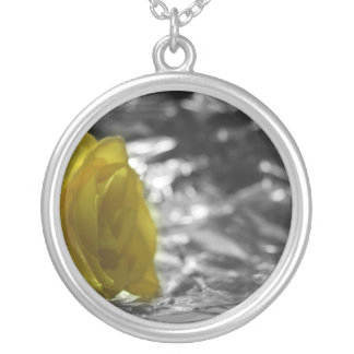 Yellow Rose On Left Side Silver Background Silver Plated Necklace