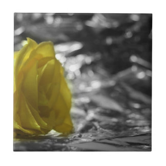 Yellow Rose On Left Side Silver Background Tile
