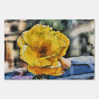 Yellow rose painting sign