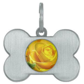 Yellow Rose Pet Name Tag