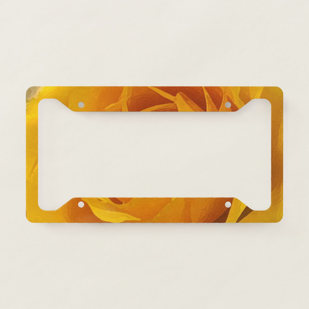 Yellow Rose Petals Abstract License Plate Frame