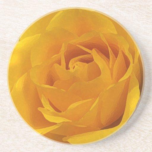 Yellow Rose Petals Drink Coaster