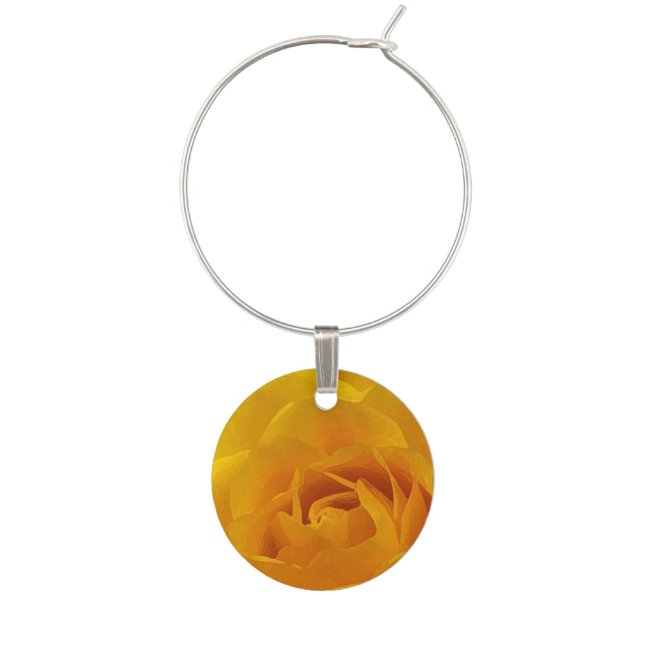 Yellow Rose Petals Floral Garden Flower Wine Charm