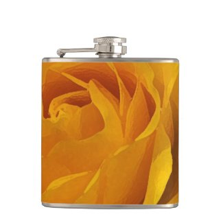 Yellow Rose Petals Hip Flask