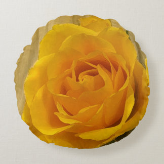 Yellow Rose Petals Round Pillow