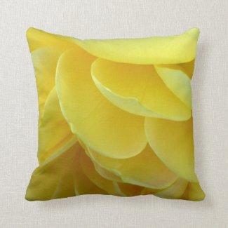 Yellow Rose Petals Throw Pillow