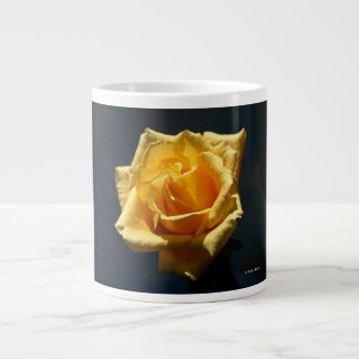 Yellow Rose photograph against dark background Giant Coffee Mug