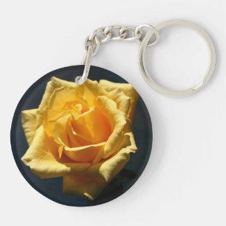 Yellow Rose photograph against dark background Round Acrylic Keychain