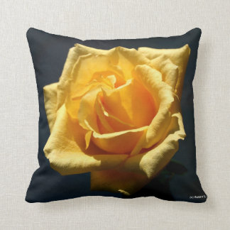 Yellow Rose photograph against dark background Pillow