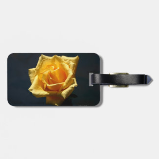 Yellow Rose photograph against dark background Travel Bag Tags