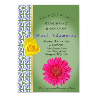 Yellow Rose Pink Flower Bridal Shower Card