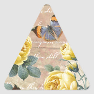 Yellow Rose Poetry Triangle Sticker