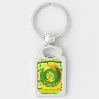 Yellow Rose Pop Art Design Keychain