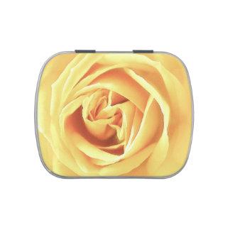 Yellow rose print candy tin