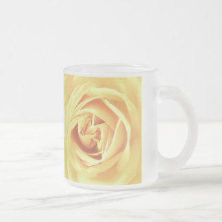 Yellow rose print frosted glass coffee mug