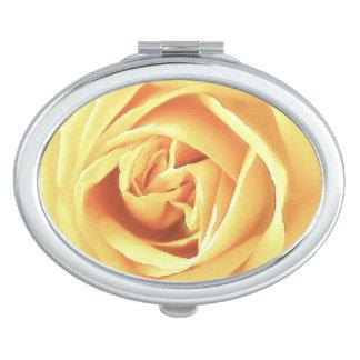 Yellow rose print makeup mirror