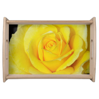 Yellow rose print serving tray