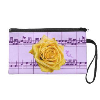 Yellow Rose & Purple Music Wristlet