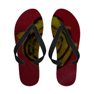 Yellow Rose Red Color Kids Art Abstract Painting Sandals