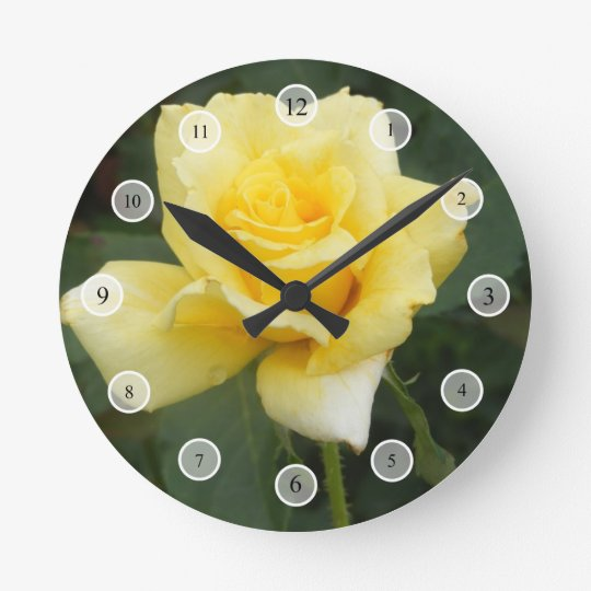 Yellow Rose Round Clock