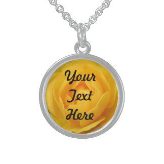 Yellow Rose Round Pendant Necklace