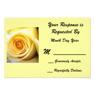 Yellow Rose RSVP Card Personalized Invitation