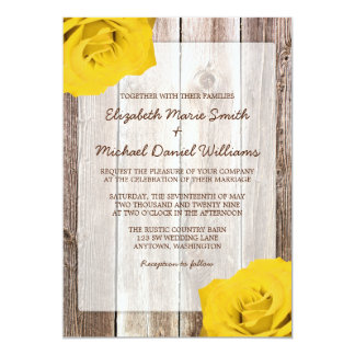 Yellow Rose Rustic Barn Wood Wedding Invitations