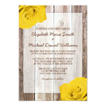 Yellow Rose Rustic Barn Wood Wedding Invitations