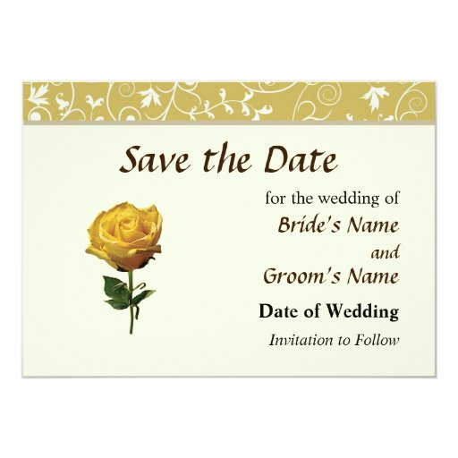 Yellow Rose Save the Date 5x7 Paper Invitation Card