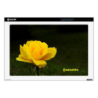 """Yellow rose skin for 17"""" laptop"""