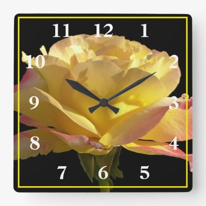 Yellow Rose Square Wall Clock