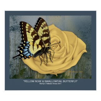 Yellow Rose & Swallowtail Butterfly Print