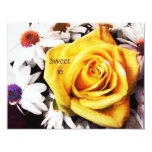 "yellow rose sweet 16 invitation template 4.25"" x 5.5"" invitation card"