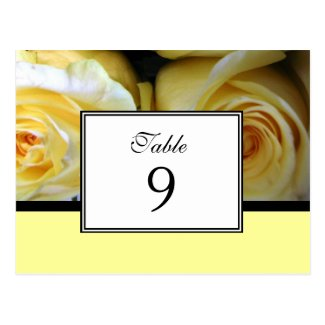 Yellow Rose Table Number Card Postcard