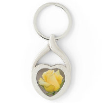 Yellow Rose  Twisted Heart Key Chain
