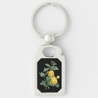 Yellow Rose vintage botanical illustration Silver-Colored Rectangular Metal Keychain