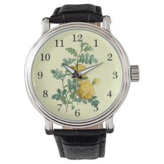 Yellow Rose vintage botanical illustration Wristwatches