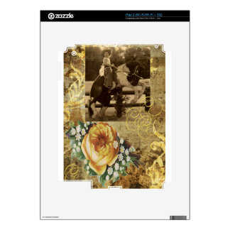 Yellow Rose Vintage Little Cowgirl Riding Horse iPad 2 Decal