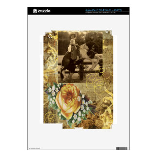 Yellow Rose Vintage Little Cowgirl Riding Horse iPad 3 Skins