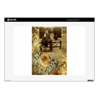 Yellow Rose Vintage Little Cowgirl Riding Horse Laptop Skins