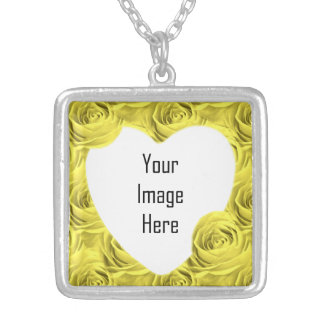 Yellow Rose Wallpaper Pattern - Photo Template Silver Plated Necklace