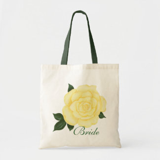 Yellow Rose Wedding, Bride Tote Bags