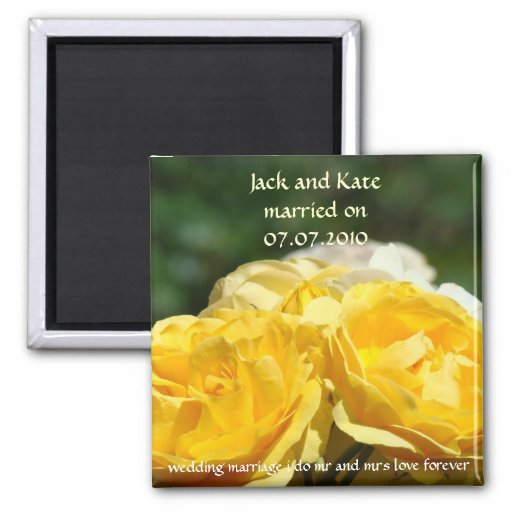 Yellow Rose Wedding Favors magnet Married on