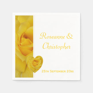 Yellow Rose Wedding Paper Napkin