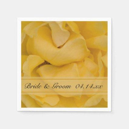 Yellow Rose Wedding Paper Napkins