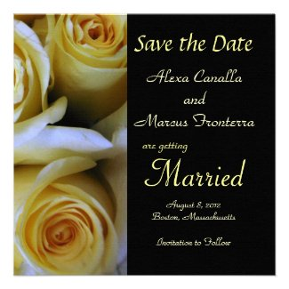 Yellow Rose Wedding Save the Date Announcement Car