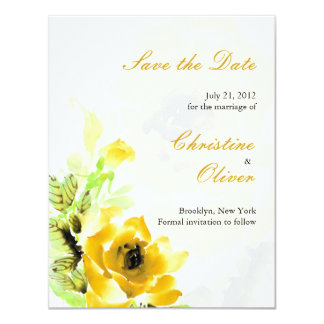 Yellow Rose Wedding Save the Date Card