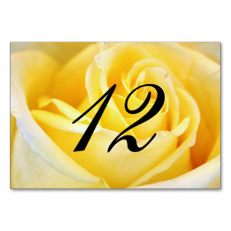 Yellow Rose Wedding Table Number Table Card