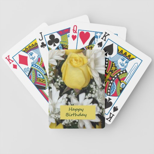 Yellow Rose White Daisie Birthday Bicycle Playing Cards